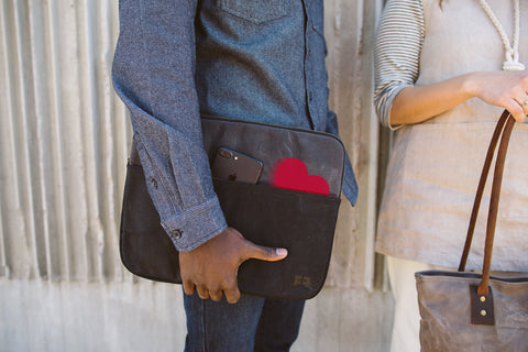 red valentine heart in open outside pocket laptop sleeve in waxed canvas cloud