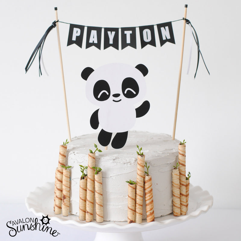 Personalized Panda Cake Topper for Panda Party with bamboo cookie decorations