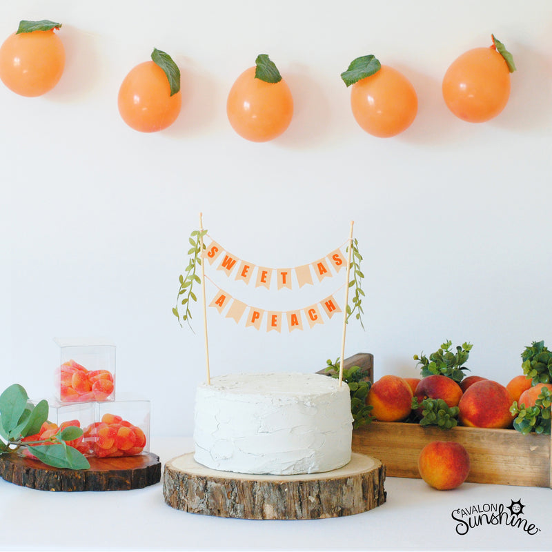 Sweet as a Peach Cake Topper for baby shower or 1st birthday