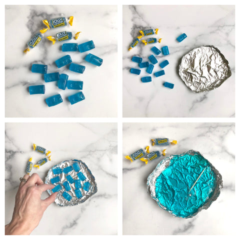 melted jolly ranchers to make ice for cake decoration