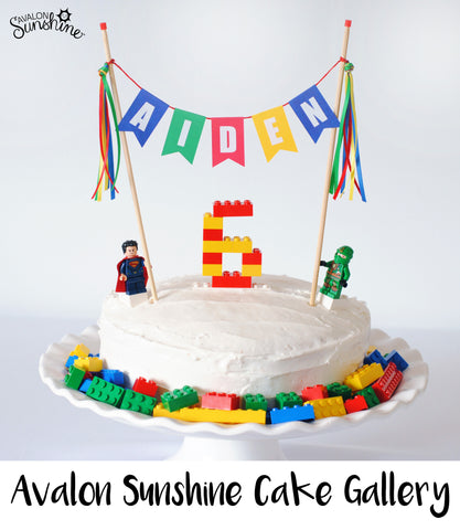 Lego Birthday Cake with Personalized Cake Topper