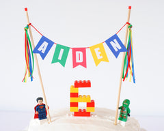 Personalized Lego cake topper
