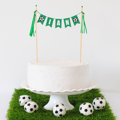 Soccer cake topper for soccer party
