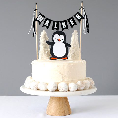 personalized penguin cake topper