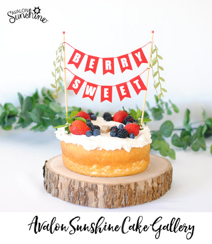 Berry Sweet cake topper - Angel Food cake with berries and cream