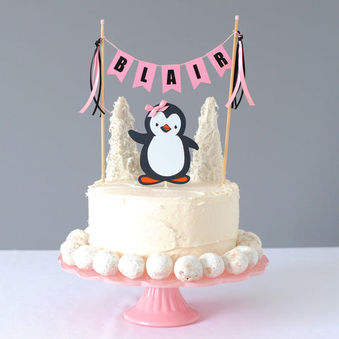 personalized pink penguin cake topper