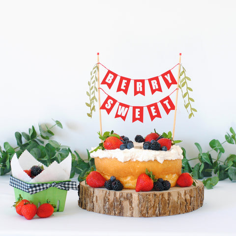 Berry Sweet cake topper angel food cake with berries and cream
