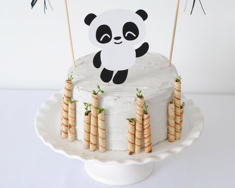Panda Cake Topper with Bamboo for Panda Party