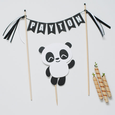 Personalized Panda cake topper for Panda Birthday Party