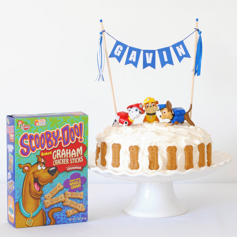 Paw Patrol Cake with Personalized Cake Topper and Scooby Snacks