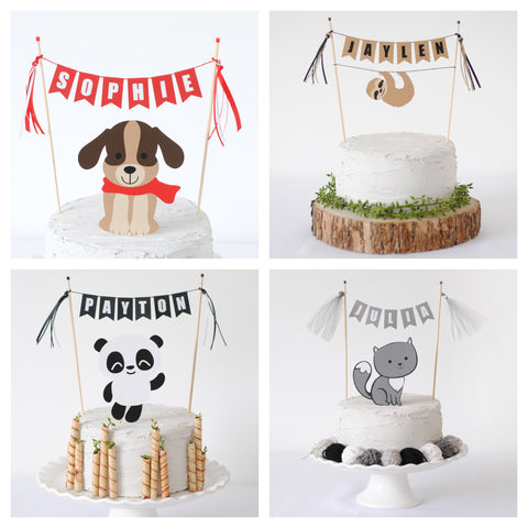 animal cake toppers with personalized name banner