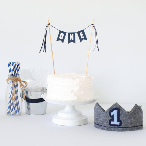 Navy Blue 1st Birthday Set - Crown & Cake Topper