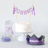 Purple Crown and Cake Topper Birthday Set