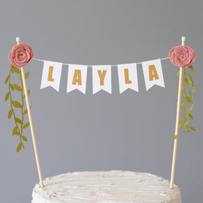 Girls Flower Cake Topper