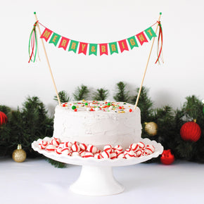 Merry and Bright Christmas Cake Topper
