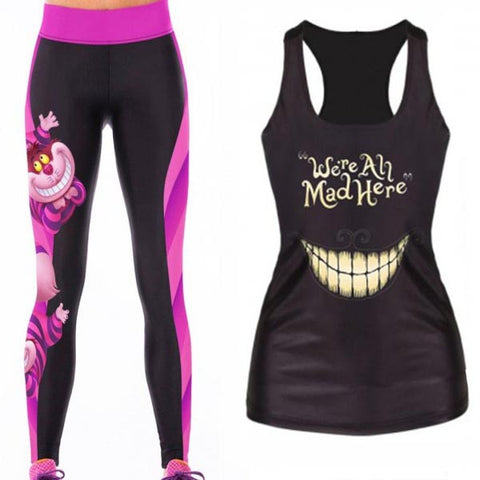 Alice in Wonderland Elasticated Waistband Leggings & Vest Combo