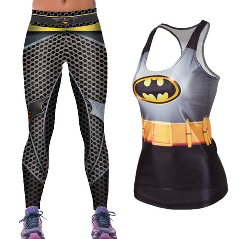 Bat Power Yoga Leggings & Vest Combo