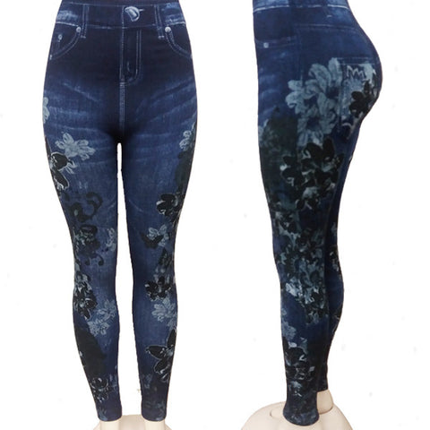 Black Floral Jeggings
