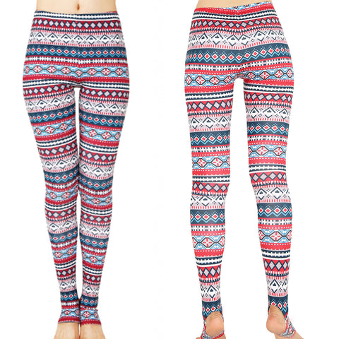 Blue Diamonds and Red Stripes Leggings