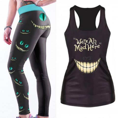 Ghostly Grin Elasticated Leggings & Vest Combo