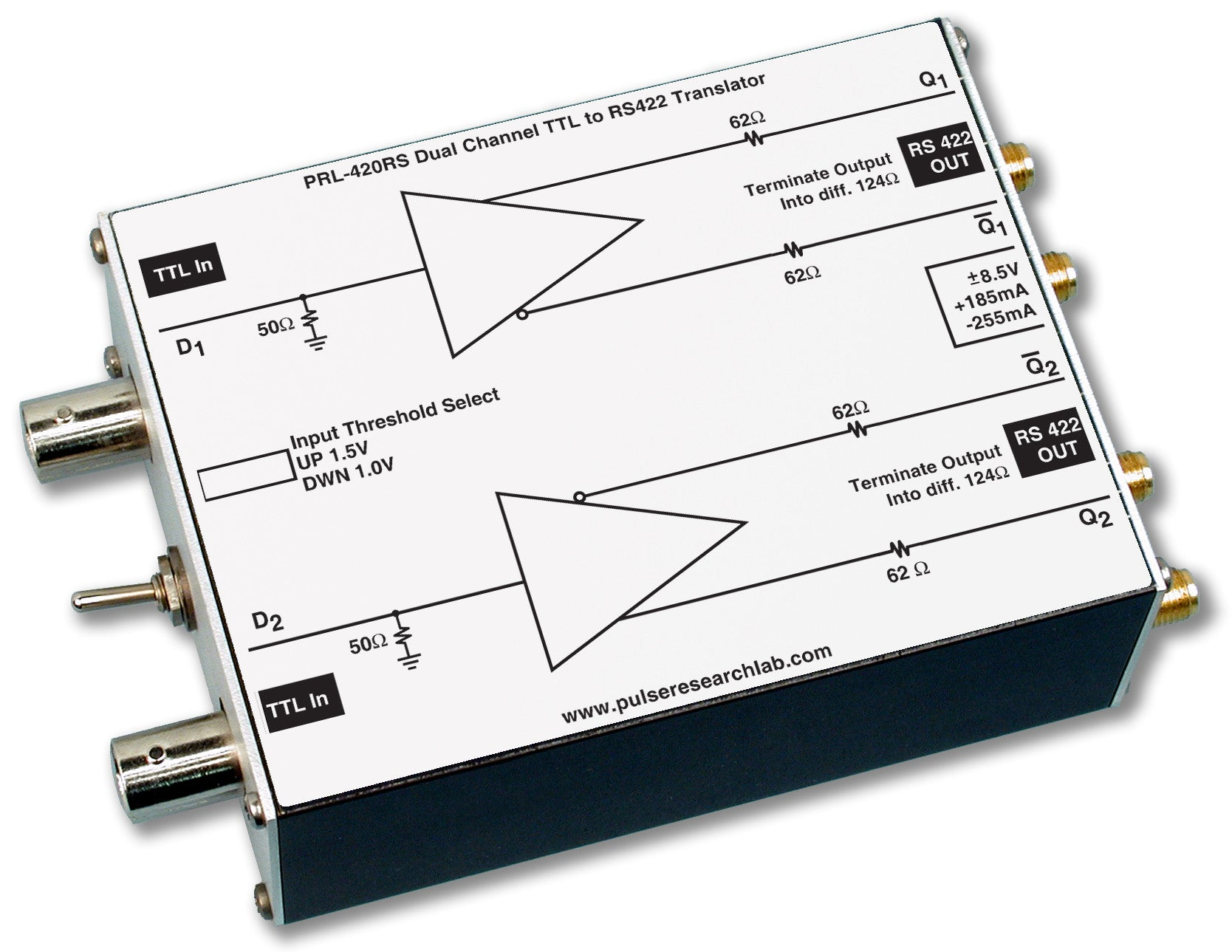 2 Channel Ttl To Rs 422 Logic Level Translator Pulse Research Diagram Product Image