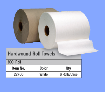 "22700 - WHITE ROLL TOWELS - 8"" X 800'"