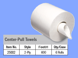 "25002 - WHITE CENTER PULL TOWELS - 8 1/4"" X 600'"