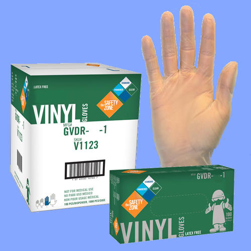 GVDR-L-1 LARGE CLEAR 4 MIL VINYL POWDERED LATEX FREE GLOVES