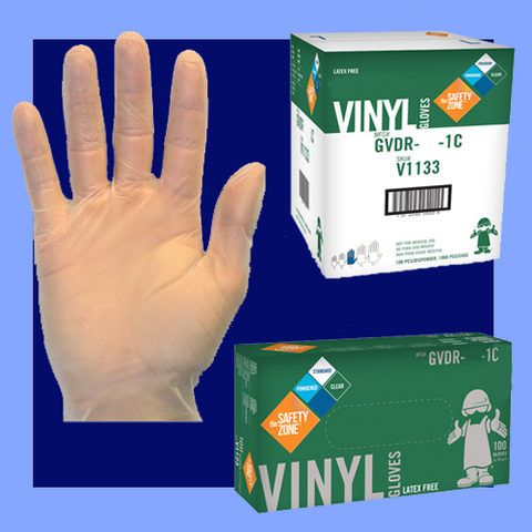 GVDR-XL-1C - EXTRA LARGE CLEAR 5 MIL POWDERED LATEX FREE VINYL GLOVES