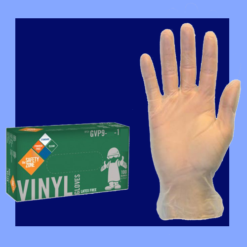 GVP9-L-1 - LARGE CLEAR 4 MIL POWDER FREE VINYL GLOVES