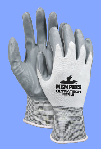 J9683M - ULTRATECH<sup>®</sup> MEDIUM WHITE NYLON SHELL / GRAY NITRILE DIPPED GLOVES