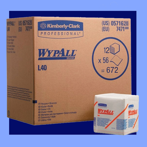 "KCL801 - WYPALL<sup>®</sup> L40 12.5"" X 13"" QUARTER FOLD WHITE ALL PURPOSE WIPERS"