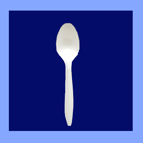PLR70044 - SPOONS MEDIUM WEIGHT WHITE PLASTIC