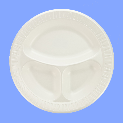 "TK1-0044 - 10"" 3 COMPARTMENT WHITE FOAM PLATES"
