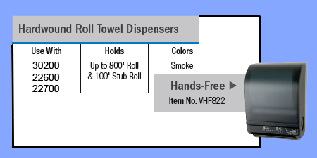 VHF822 - HANDS FREE HARD WOUND ROLL TOWEL DISPENSER