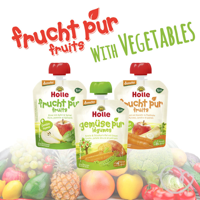 Holle Organic Pure Fruit With Vegetable Pouches Variety - 90g each (6x Pack)