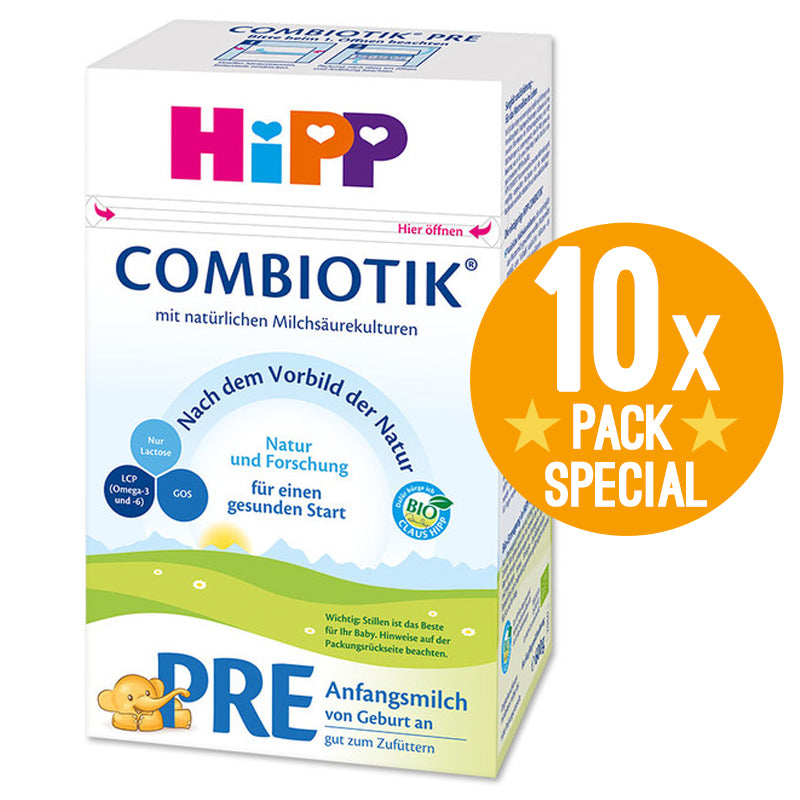 HiPP Germany Stage PRE Organic Combiotic Formula Infant Milk 600g - 0 Months+ (10 Pack)