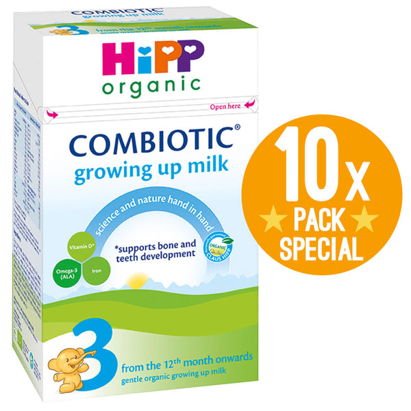 HiPP UK Stage 3 Organic Combiotic Growing Up Milk Formula 600g - 12 Months+ (10 Pack)