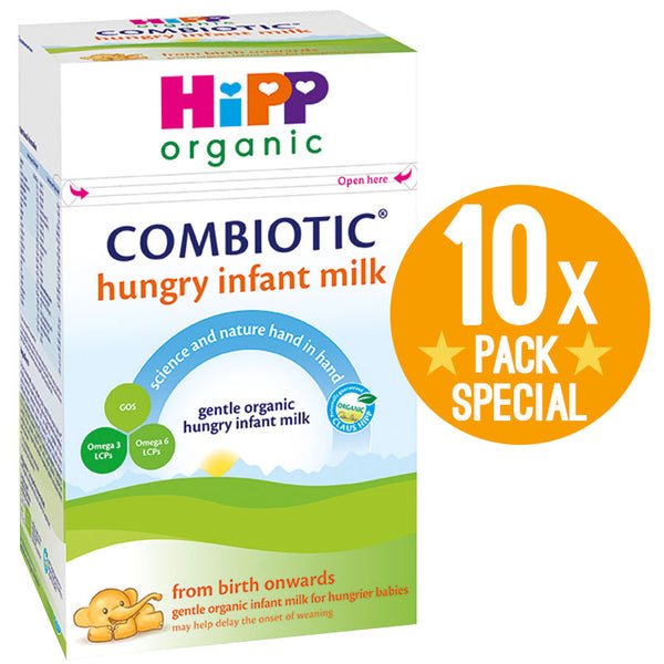 HiPP UK Hungry Infant Milk Organic Combiotic Formula 800g - 0 Months+ (10 Pack)
