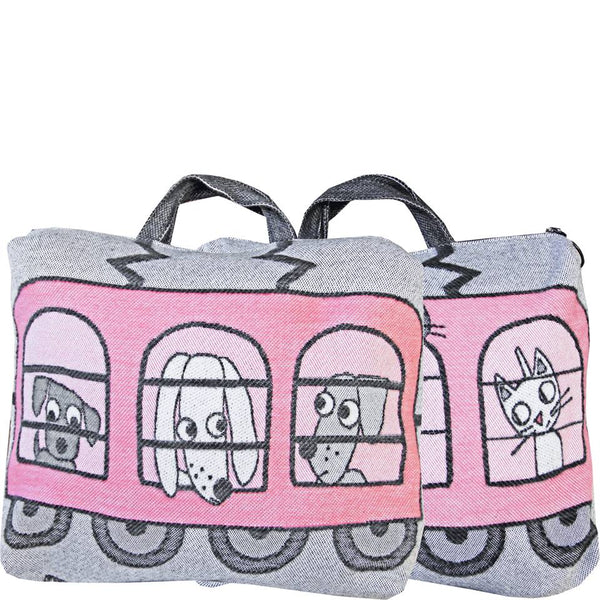 Cats & Dogs Train Pillow Case, Pink