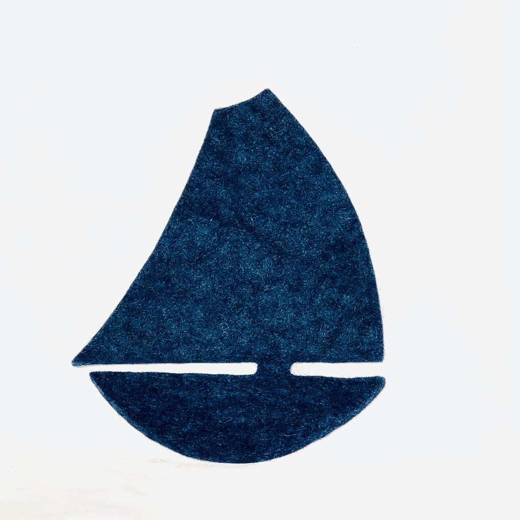 Felted Wool Hot Pad, sailboat. More colors