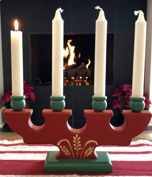 Advent Candleholder, red/green