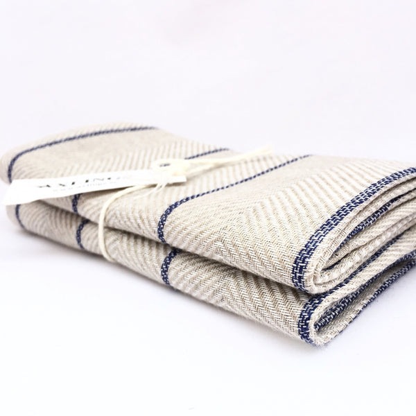 "Axlings Linne Tea Towel ""Marulk"" navy, 2-pack"