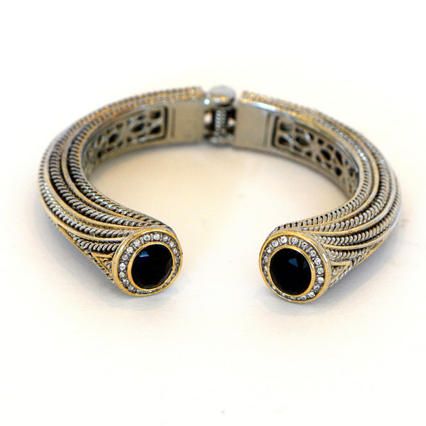 Heftsi Gold And Silver Plated Bracelet With Black Onyx And CZ