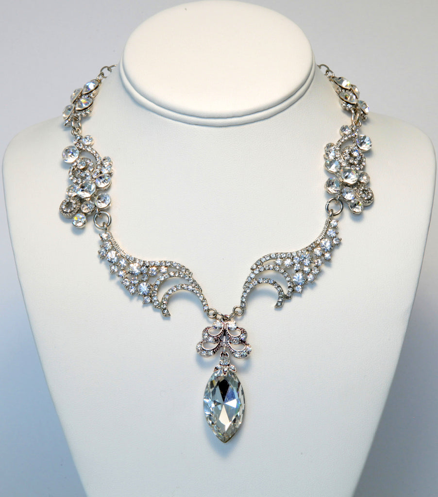 Heftsi Silver Plated  Necklace With Clear CZ