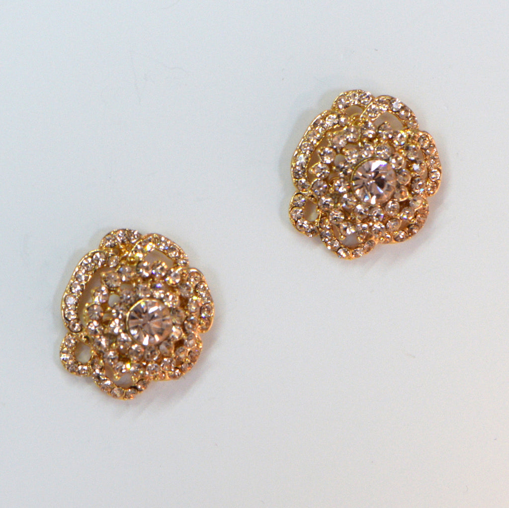 Heftsi Gold Plated Earrings With Peachy Color CZ