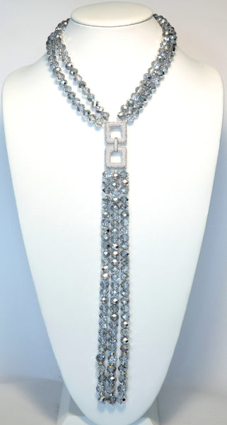Clear AV Crystal Necklace With Pave Center Piece