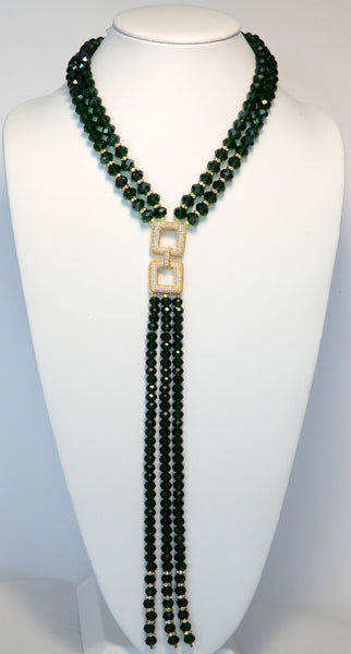 Heftsi Green Crystals Necklace With Pave Center