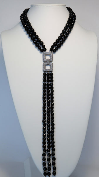 Heftsi Black Onyx Long Necklace With Pave Center Piece