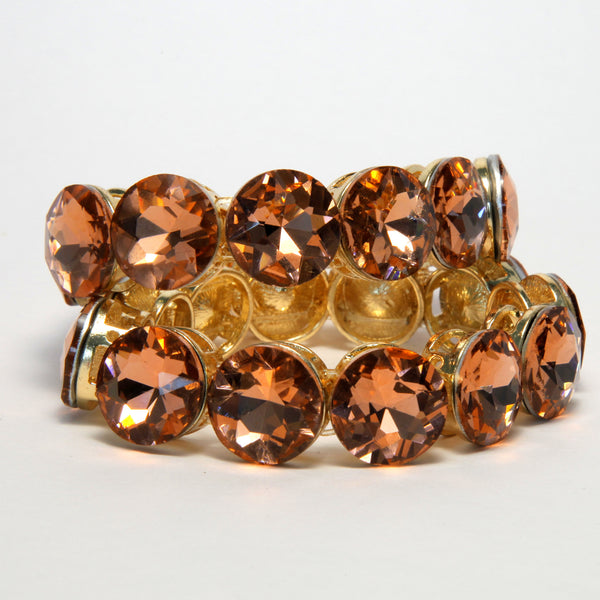 Heftsi gold plated bracelets with peachy color cubic zircon stone (2)
